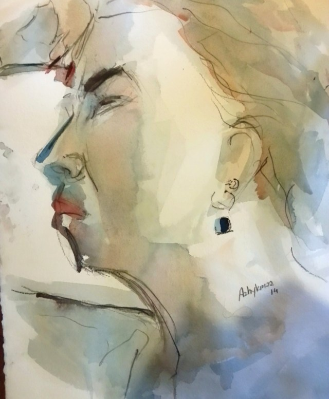 watercolor on paper-portrait-resist