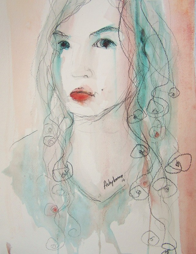 watercolor on paper-portrait-I am nowhere again