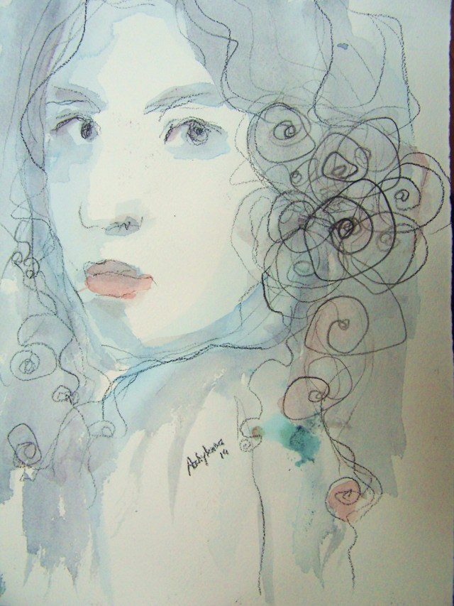 watercolor on paper-selfportrait-seeking love