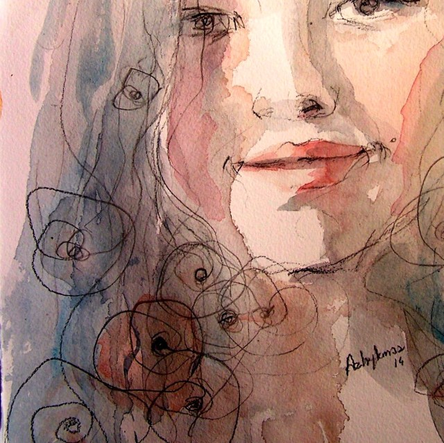 watercolor on paper - selfportrait - love