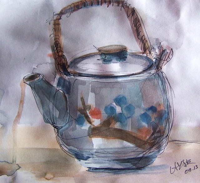 watercolor on paper - teapot
