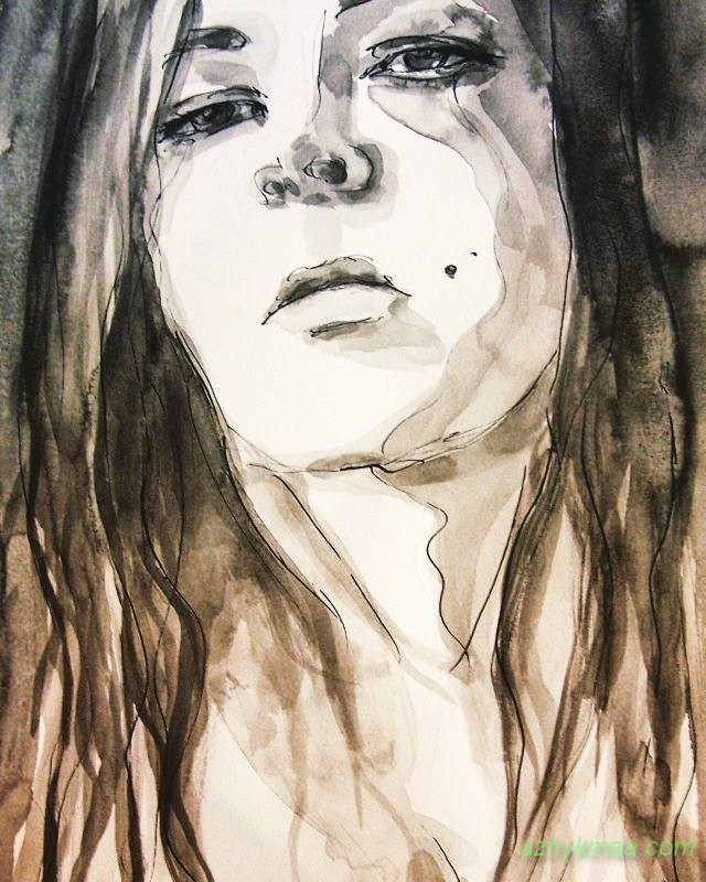 selfportrit-free fall-wtercolor-ink